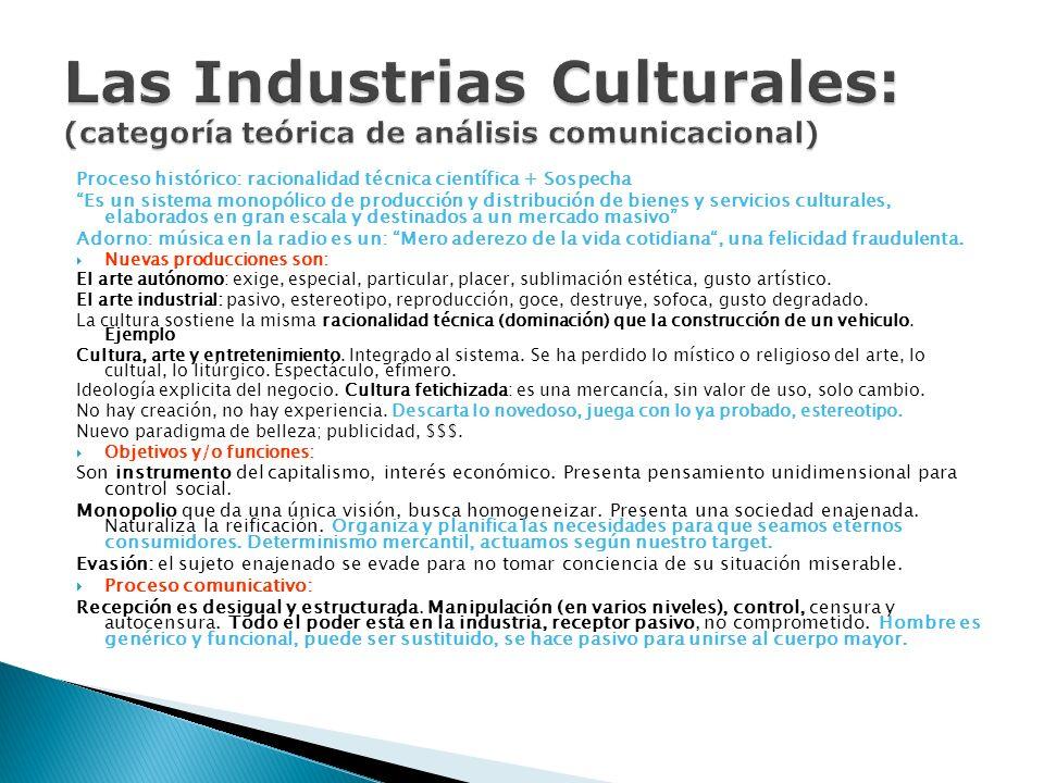 Proceso histórico: racionalidad técnica científica + Sospecha Es un sistema monopólico de producción y distribución de bienes y servicios culturales,