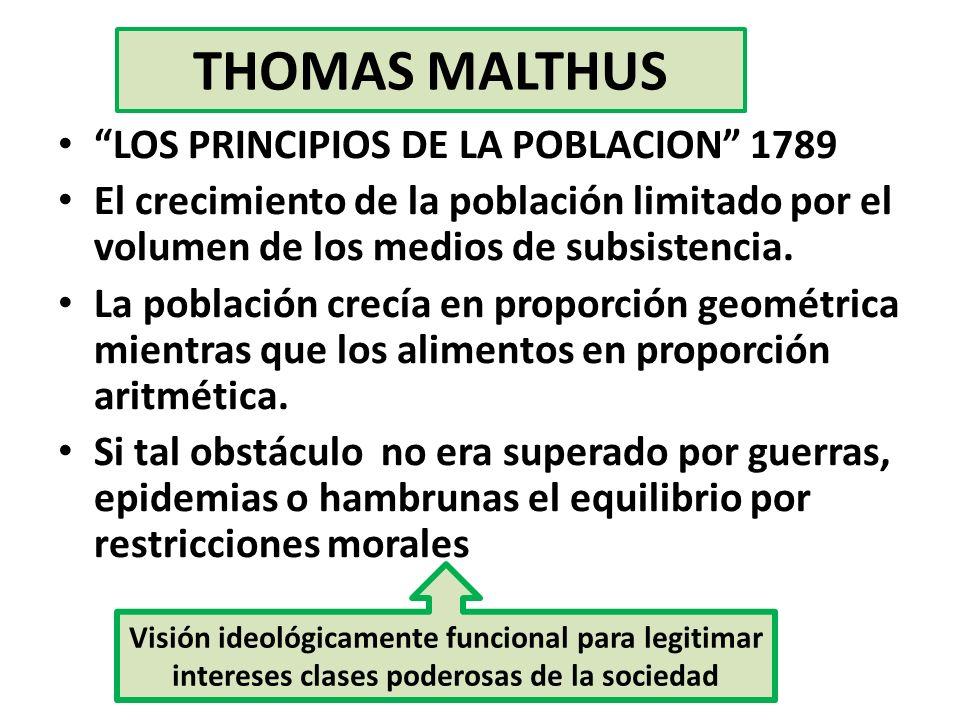 THOMAS MALTHUS LOS PRINCIPIOS DE LA POBLACION 1789 El crecimiento de la población limitado por el volumen de los medios de subsistencia. La población