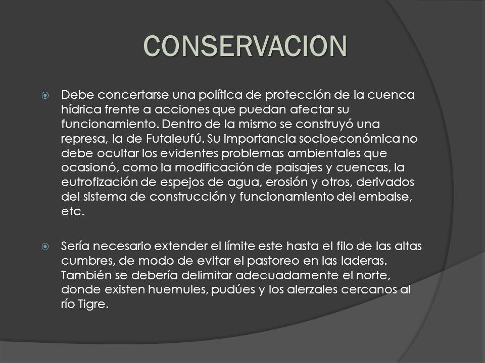 Debe concertarse una política de protección de la cuenca hídrica frente a acciones que puedan afectar su funcionamiento. Dentro de la mismo se constru