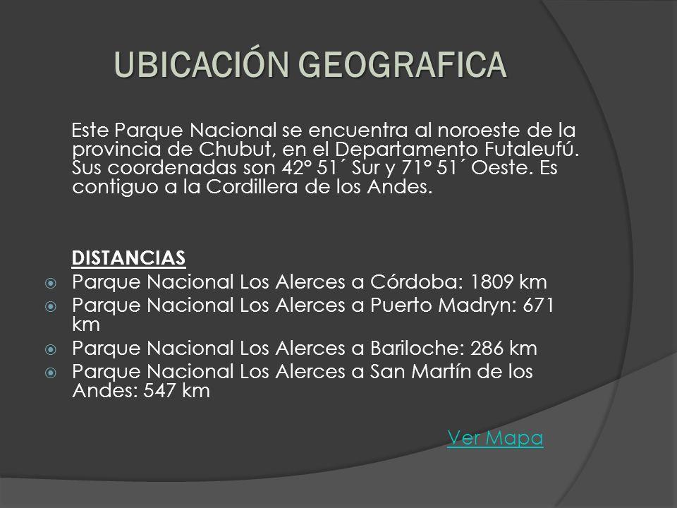 Este Parque Nacional se encuentra al noroeste de la provincia de Chubut, en el Departamento Futaleufú. Sus coordenadas son 42° 51´ Sur y 71° 51´ Oeste