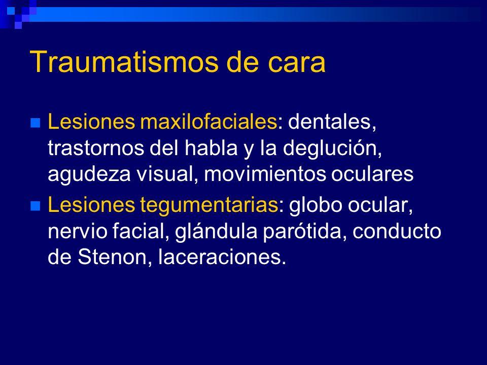 Lesiones maxilofaciales: dentales, trastornos del habla y la deglución, agudeza visual, movimientos oculares Lesiones tegumentarias: globo ocular, ner
