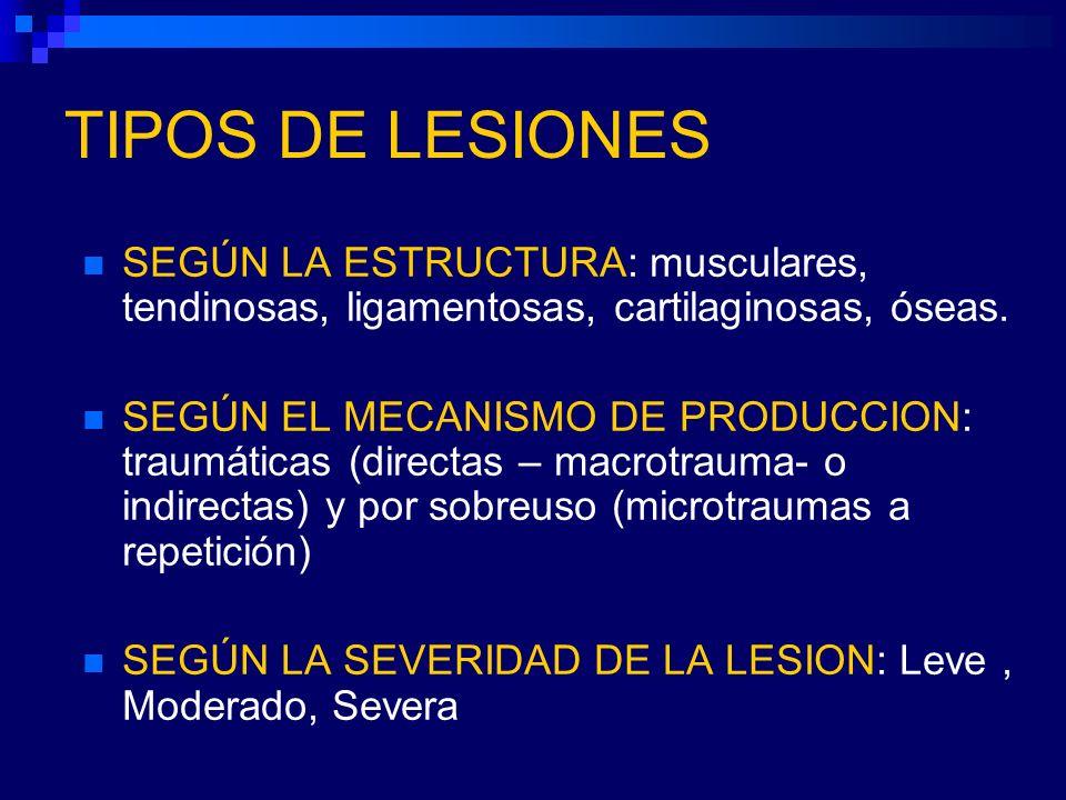 TIPOS DE LESIONES SEGÚN LA ESTRUCTURA: musculares, tendinosas, ligamentosas, cartilaginosas, óseas. SEGÚN EL MECANISMO DE PRODUCCION: traumáticas (dir