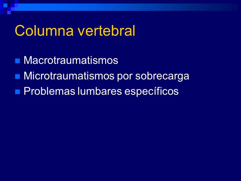 Columna vertebral Macrotraumatismos Microtraumatismos por sobrecarga Problemas lumbares específicos
