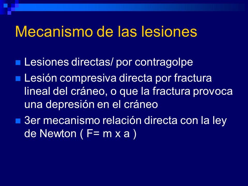 Mecanismo de las lesiones Lesiones directas/ por contragolpe Lesión compresiva directa por fractura lineal del cráneo, o que la fractura provoca una d
