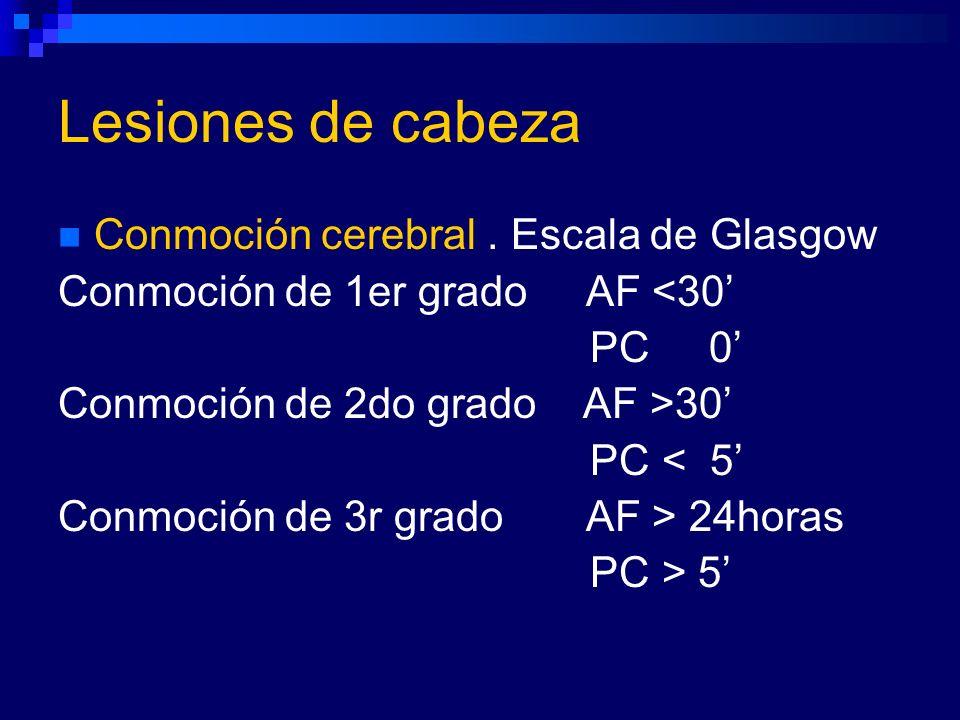Lesiones de cabeza Conmoción cerebral. Escala de Glasgow Conmoción de 1er grado AF <30 PC 0 Conmoción de 2do grado AF >30 PC < 5 Conmoción de 3r grado