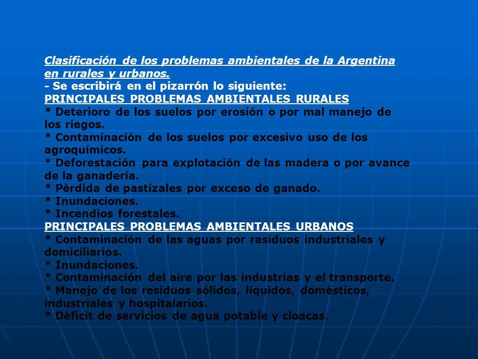 Clasificación de los problemas ambientales de la Argentina en rurales y urbanos. - Se escribirá en el pizarrón lo siguiente: PRINCIPALES PROBLEMAS AMB