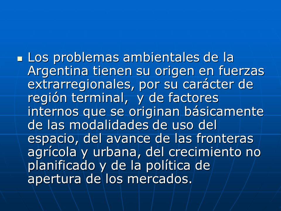 Los problemas ambientales de la Argentina tienen su origen en fuerzas extrarregionales, por su carácter de región terminal, y de factores internos que