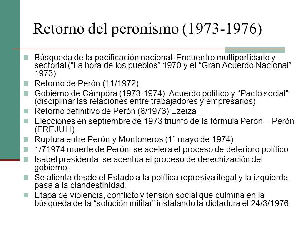 Retorno del peronismo (1973-1976) Búsqueda de la pacificación nacional: Encuentro multipartidario y sectorial (La hora de los pueblos 1970 y el Gran A