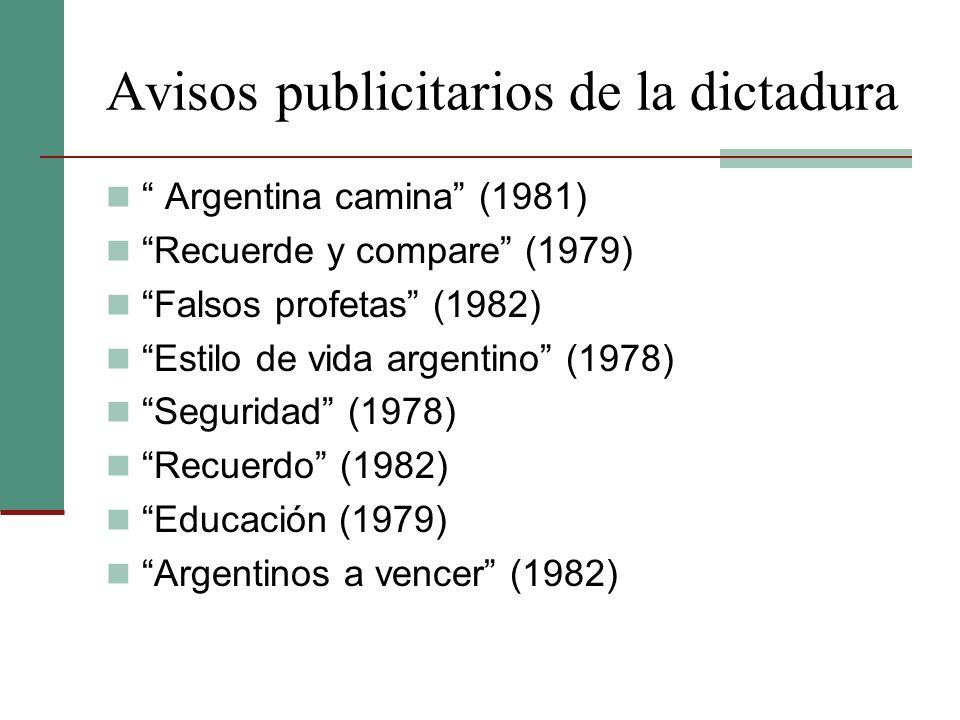 Avisos publicitarios de la dictadura Argentina camina (1981) Recuerde y compare (1979) Falsos profetas (1982) Estilo de vida argentino (1978) Segurida