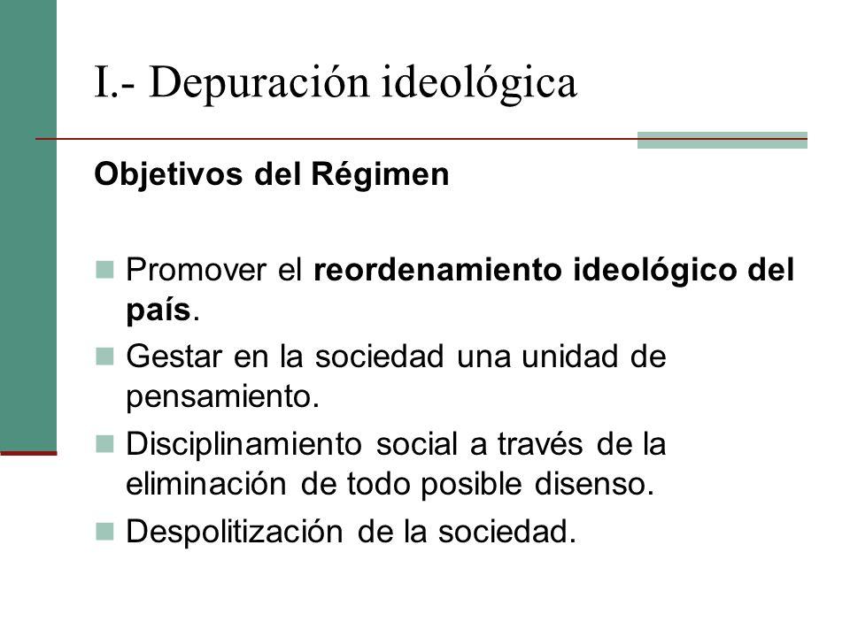 I.- Depuración ideológica Objetivos del Régimen Promover el reordenamiento ideológico del país. Gestar en la sociedad una unidad de pensamiento. Disci