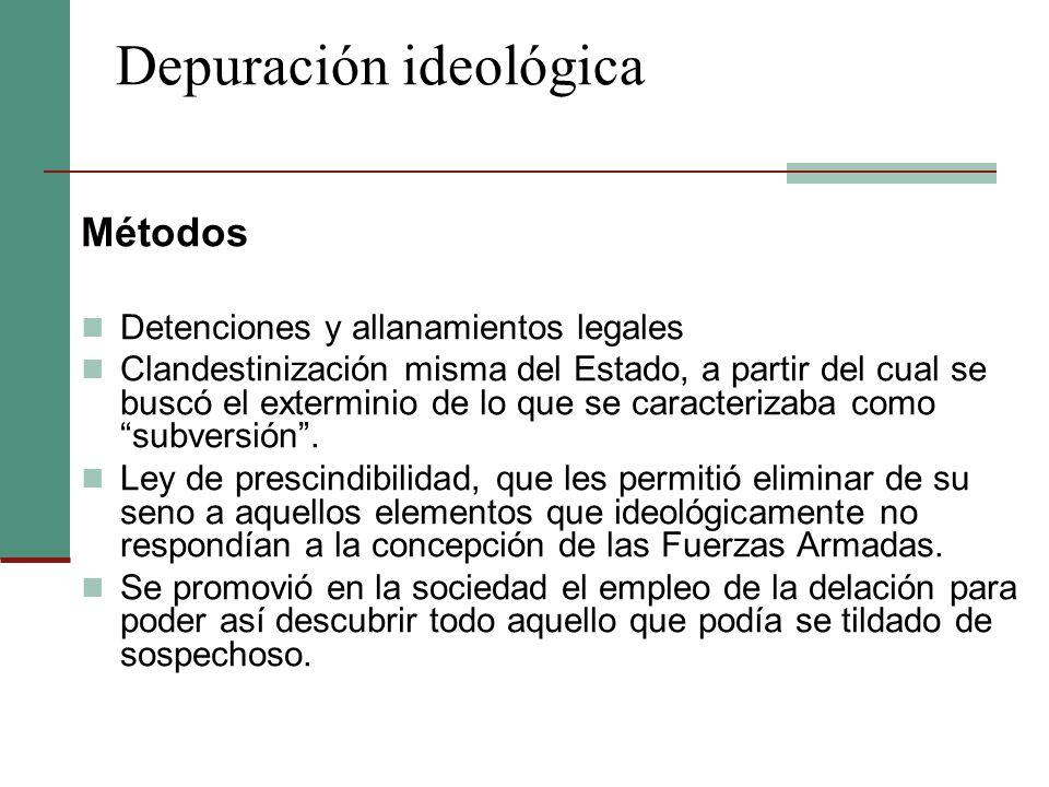 Depuración ideológica Métodos Detenciones y allanamientos legales Clandestinización misma del Estado, a partir del cual se buscó el exterminio de lo q