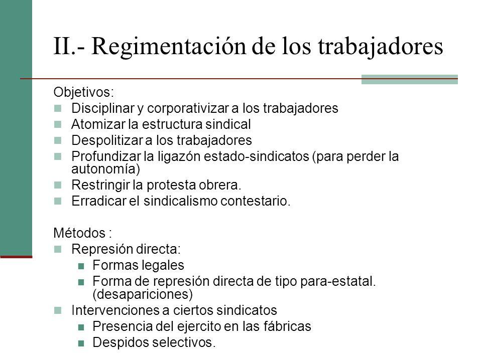 II.- Regimentación de los trabajadores Objetivos: Disciplinar y corporativizar a los trabajadores Atomizar la estructura sindical Despolitizar a los t