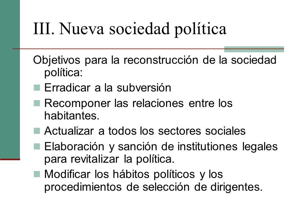 III. Nueva sociedad política Objetivos para la reconstrucción de la sociedad política: Erradicar a la subversión Recomponer las relaciones entre los h