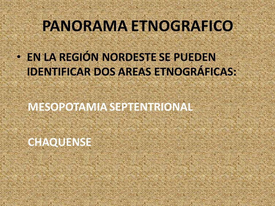 PANORAMA ETNOGRAFICO EN LA REGIÓN NORDESTE SE PUEDEN IDENTIFICAR DOS AREAS ETNOGRÁFICAS: MESOPOTAMIA SEPTENTRIONAL CHAQUENSE