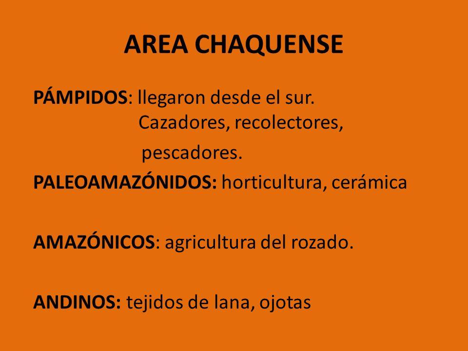 AREA CHAQUENSE PÁMPIDOS: llegaron desde el sur. Cazadores, recolectores, pescadores. PALEOAMAZÓNIDOS: horticultura, cerámica AMAZÓNICOS: agricultura d