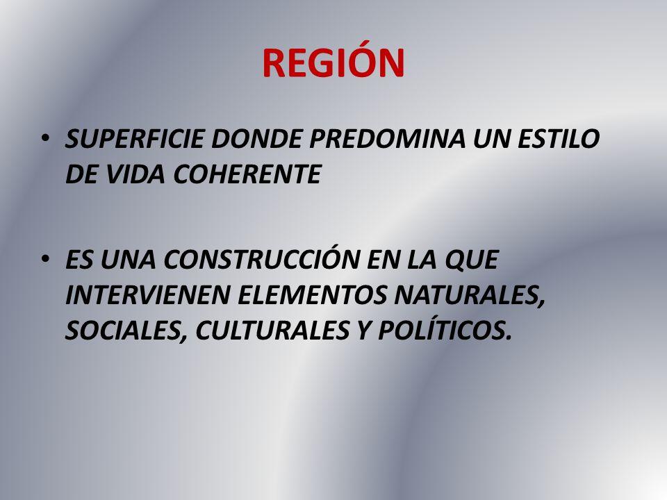 REGIÓN SUPERFICIE DONDE PREDOMINA UN ESTILO DE VIDA COHERENTE ES UNA CONSTRUCCIÓN EN LA QUE INTERVIENEN ELEMENTOS NATURALES, SOCIALES, CULTURALES Y PO