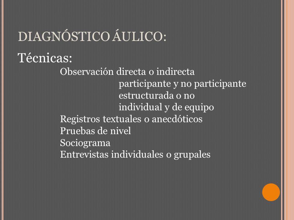 DIAGNÓSTICO ÁULICO: Técnicas: Observación directa o indirecta participante y no participante estructurada o no individual y de equipo Registros textua