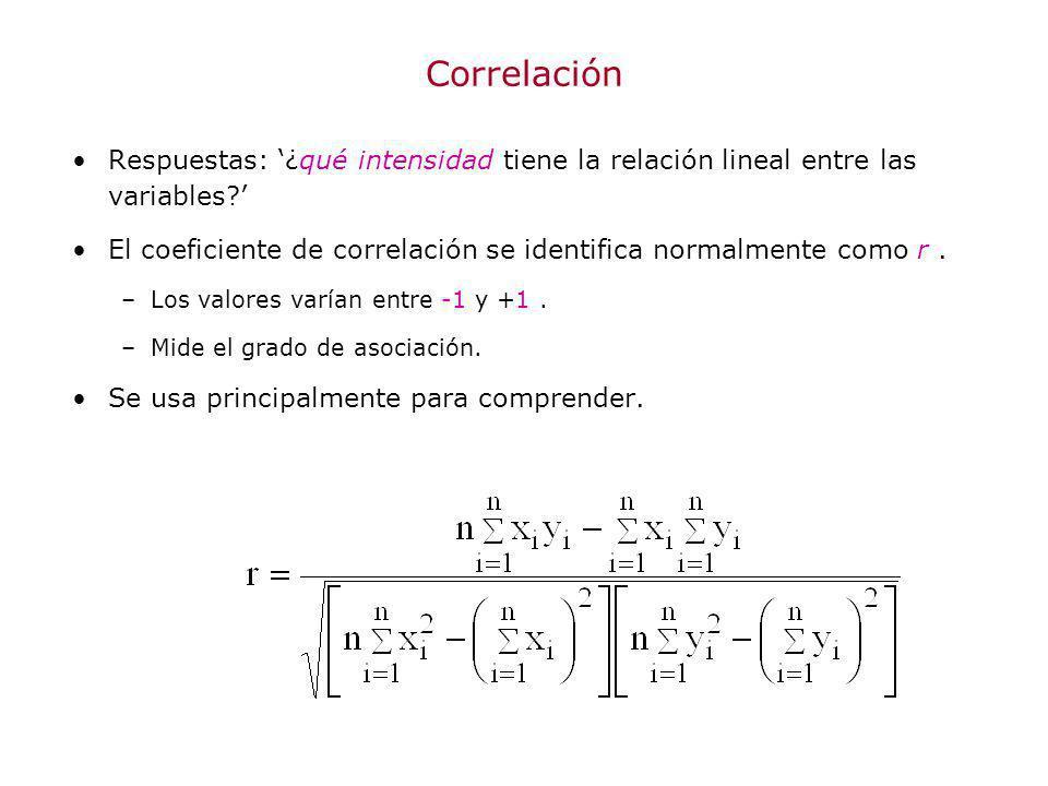 Correlación Respuestas: ¿qué intensidad tiene la relación lineal entre las variables? El coeficiente de correlación se identifica normalmente como r.