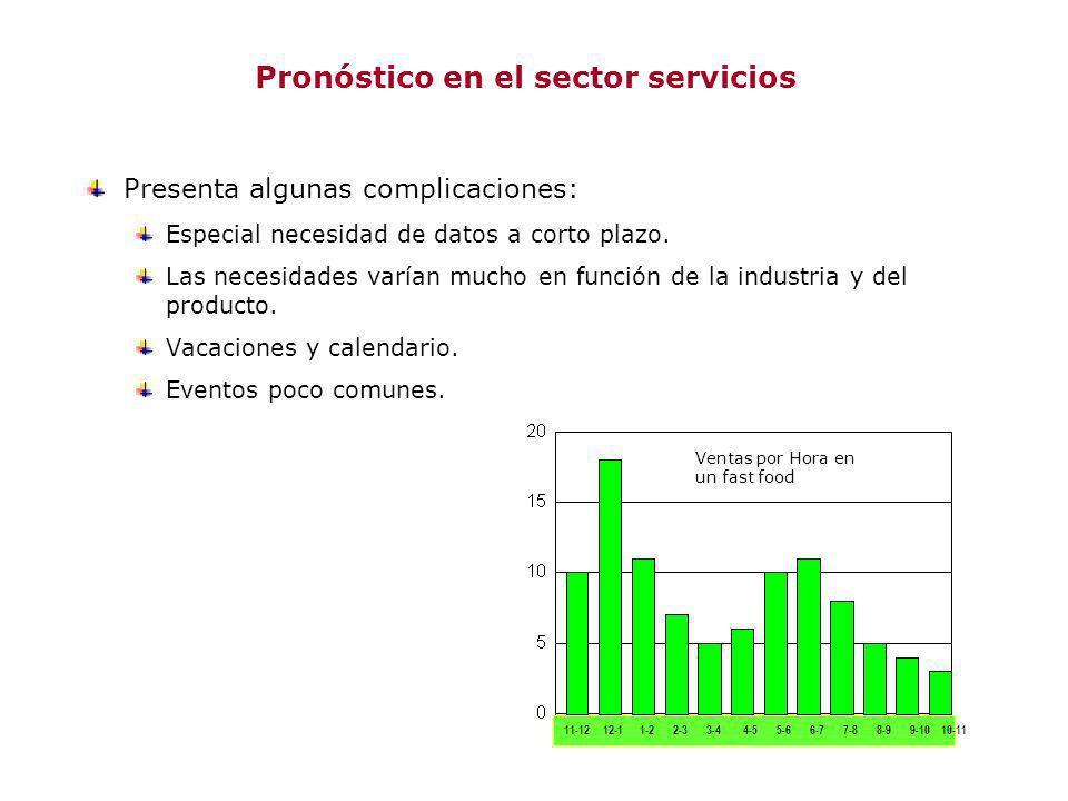 Pronóstico en el sector servicios Presenta algunas complicaciones: Especial necesidad de datos a corto plazo. Las necesidades varían mucho en función