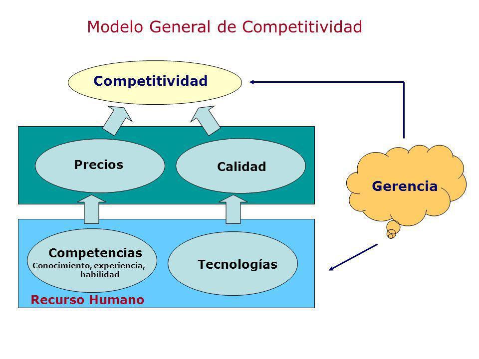 Modelo General de Competitividad Recurso Humano Competencias Conocimiento, experiencia, habilidad Tecnologías Precios Calidad Competitividad Gerencia