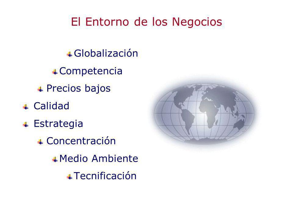El Entorno de los Negocios Globalización Competencia Precios bajos Calidad Estrategia Concentración Medio Ambiente Tecnificación