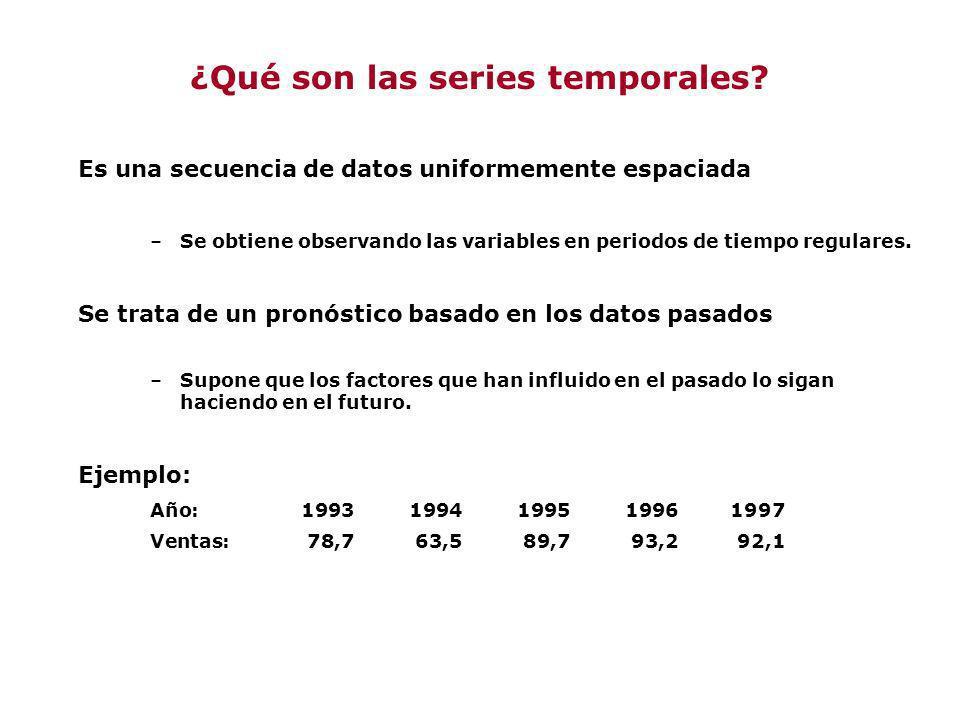 Es una secuencia de datos uniformemente espaciada –Se obtiene observando las variables en periodos de tiempo regulares. Se trata de un pronóstico basa