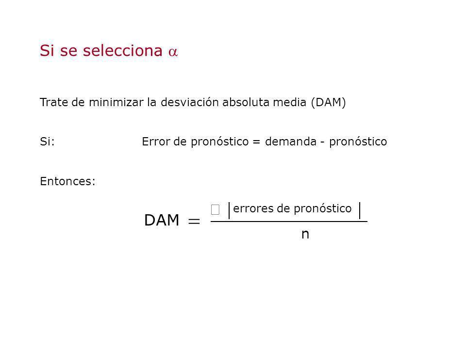 Si se selecciona Trate de minimizar la desviación absoluta media (DAM) Si:Error de pronóstico = demanda - pronóstico Entonces: n errores de pronóstico