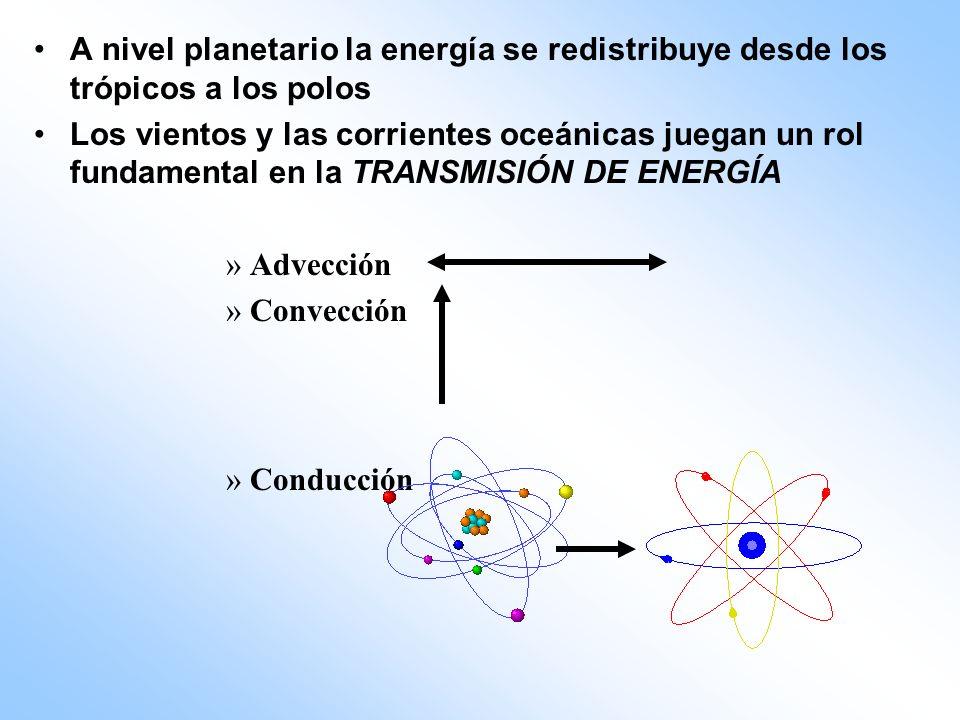 A nivel planetario la energía se redistribuye desde los trópicos a los polos Los vientos y las corrientes oceánicas juegan un rol fundamental en la TR