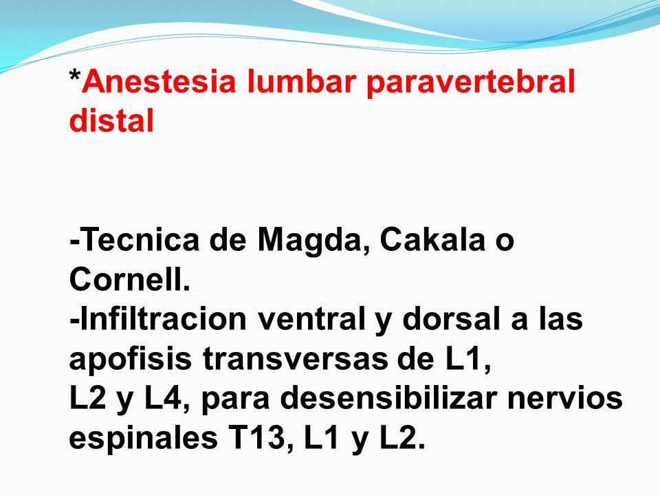 *Anestesia lumbar paravertebral distal -Tecnica de Magda, Cakala o Cornell. -Infiltracion ventral y dorsal a las apofisis transversas de L1, L2 y L4,