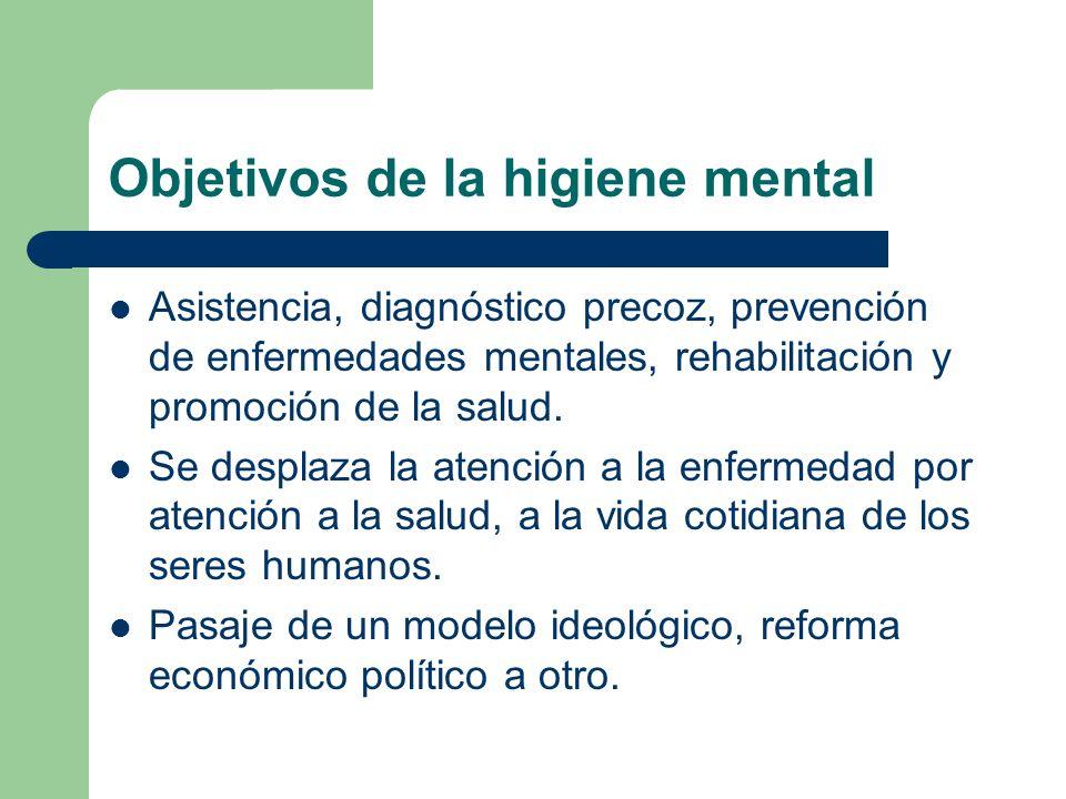 Objetivos de la higiene mental Asistencia, diagnóstico precoz, prevención de enfermedades mentales, rehabilitación y promoción de la salud. Se desplaz