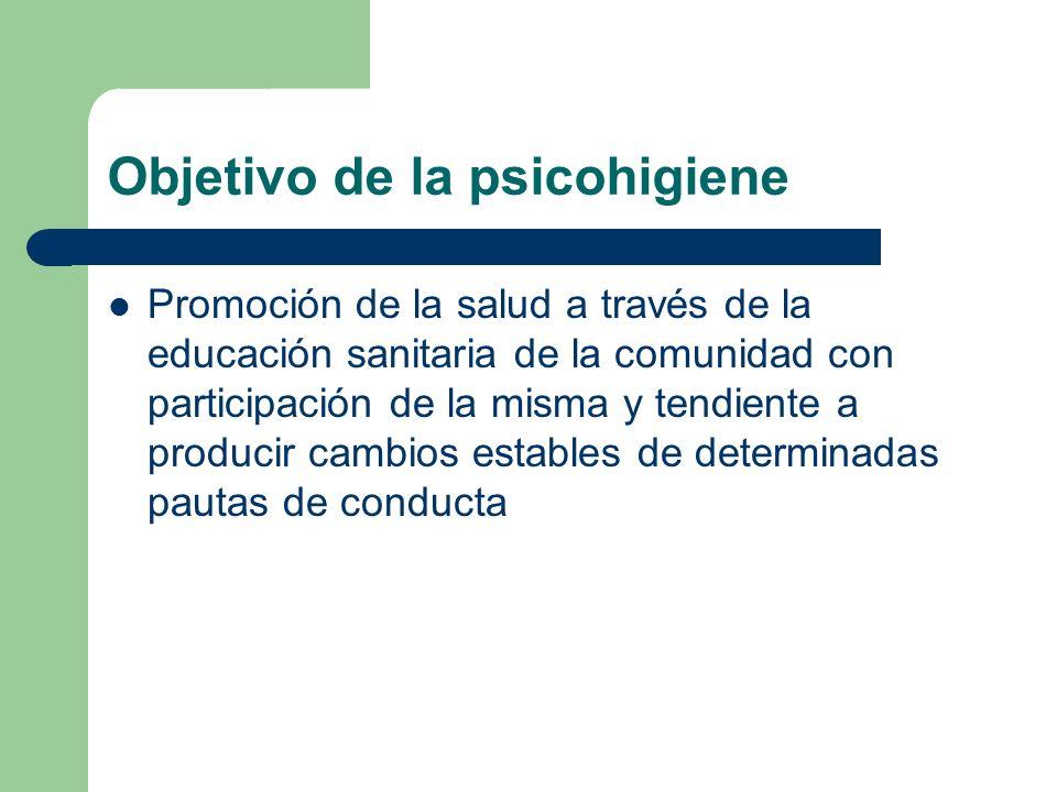 Objetivo de la psicohigiene Promoción de la salud a través de la educación sanitaria de la comunidad con participación de la misma y tendiente a produ