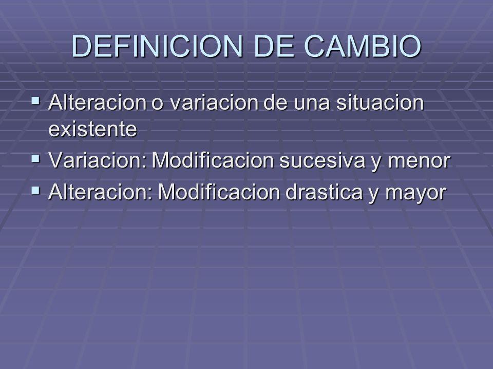 DEFINICION DE CAMBIO Alteracion o variacion de una situacion existente Alteracion o variacion de una situacion existente Variacion: Modificacion suces