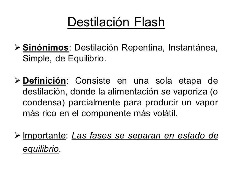 Destilación Flash Sinónimos: Destilación Repentina, Instantánea, Simple, de Equilibrio. Definición: Consiste en una sola etapa de destilación, donde l