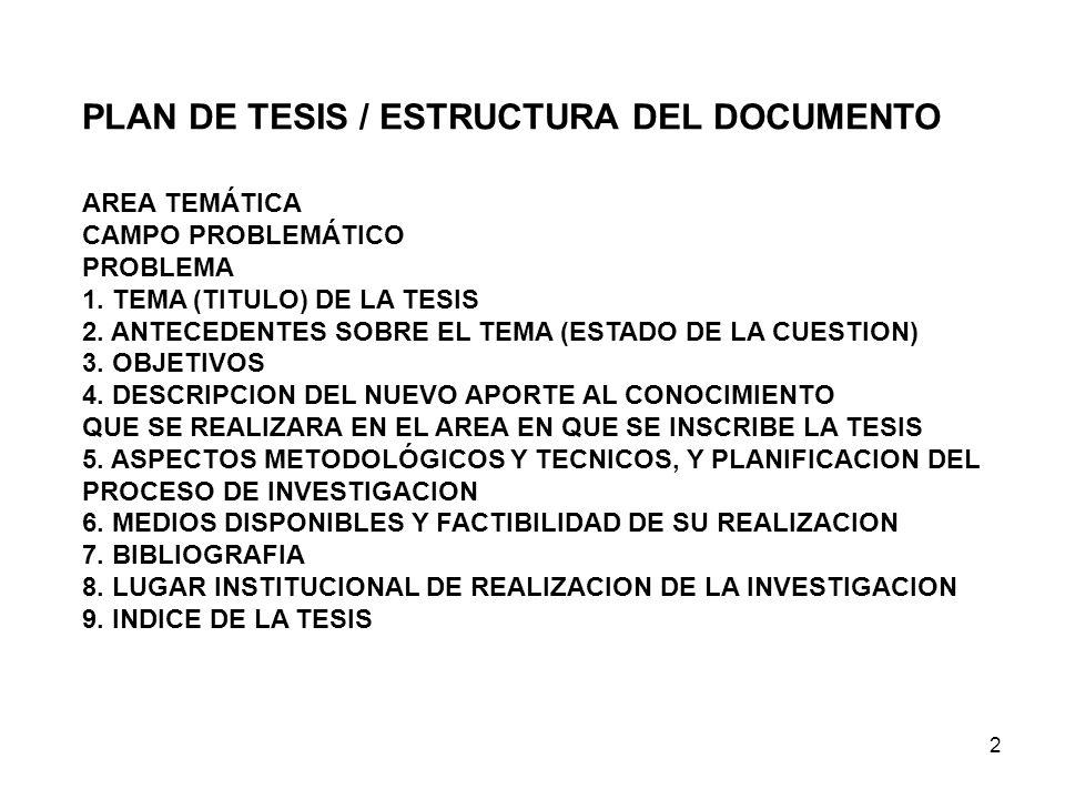 2 AREA TEMÁTICA CAMPO PROBLEMÁTICO PROBLEMA 1. TEMA (TITULO) DE LA TESIS 2. ANTECEDENTES SOBRE EL TEMA (ESTADO DE LA CUESTION) 3. OBJETIVOS 4. DESCRIP