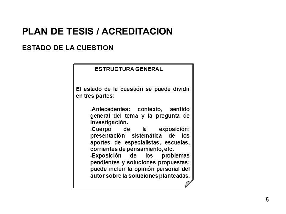 5 ESTADO DE LA CUESTION PLAN DE TESIS / ACREDITACION ESTRUCTURA GENERAL El estado de la cuestión se puede dividir en tres partes: Antecedentes: contex