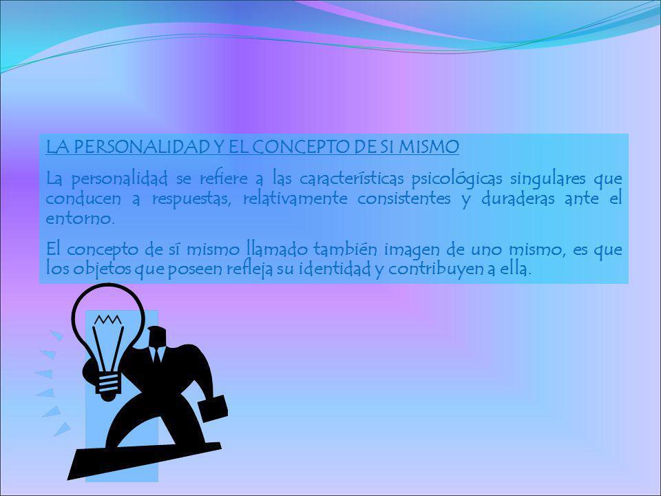 LA PERSONALIDAD Y EL CONCEPTO DE SI MISMO La personalidad se refiere a las características psicológicas singulares que conducen a respuestas, relativa