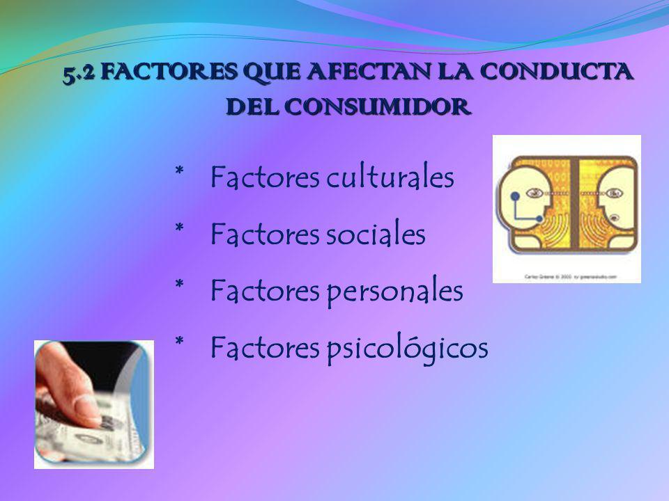 5.2 FACTORES QUE AFECTAN LA CONDUCTA DEL CONSUMIDOR * Factores culturales * Factores sociales * Factores personales * Factores psicológicos