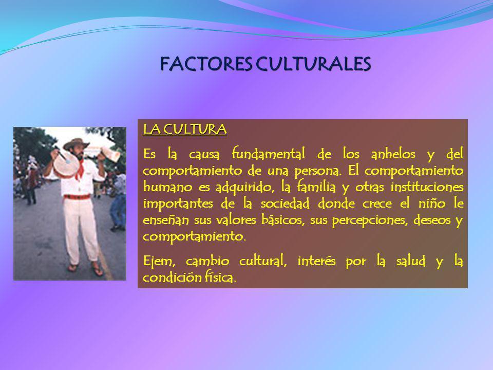 FACTORES CULTURALES LA CULTURA Es la causa fundamental de los anhelos y del comportamiento de una persona. El comportamiento humano es adquirido, la f