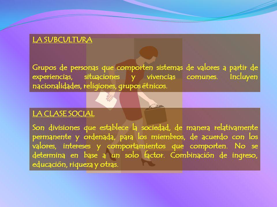 LA SUBCULTURA Grupos de personas que comporten sistemas de valores a partir de experiencias, situaciones y vivencias comunes. Incluyen nacionalidades,