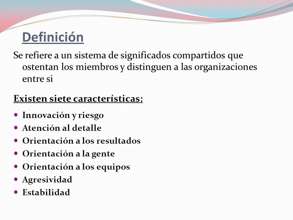 Definición Se refiere a un sistema de significados compartidos que ostentan los miembros y distinguen a las organizaciones entre si Existen siete cara