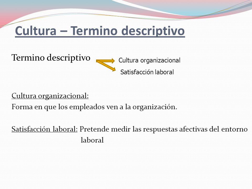 Cultura – Termino descriptivo Termino descriptivo Cultura organizacional: Forma en que los empleados ven a la organización. Satisfacción laboral: Pret