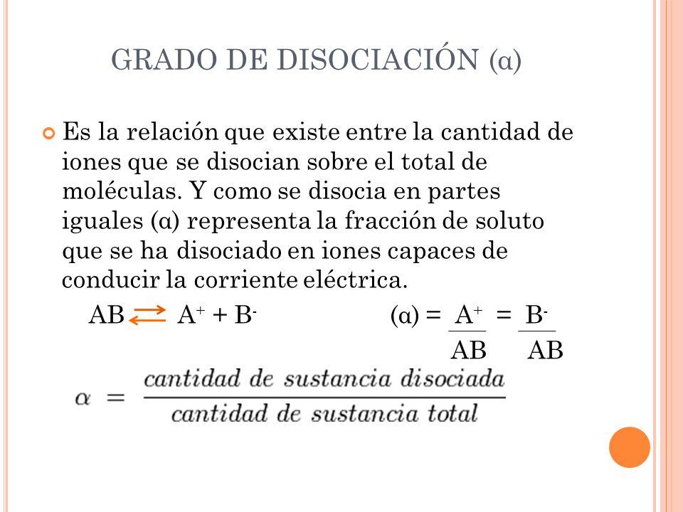 Es la relación que existe entre la cantidad de iones que se disocian sobre el total de moléculas. Y como se disocia en partes iguales (α) representa l