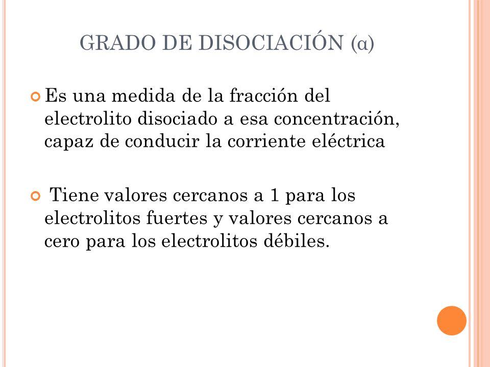 Es una medida de la fracción del electrolito disociado a esa concentración, capaz de conducir la corriente eléctrica Tiene valores cercanos a 1 para l