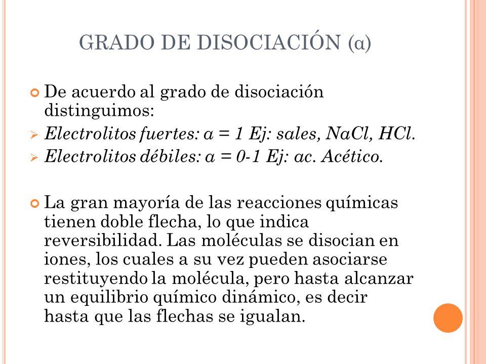De acuerdo al grado de disociación distinguimos: Electrolitos fuertes: α = 1 Ej: sales, NaCl, HCl. Electrolitos débiles: α = 0-1 Ej: ac. Acético. La g