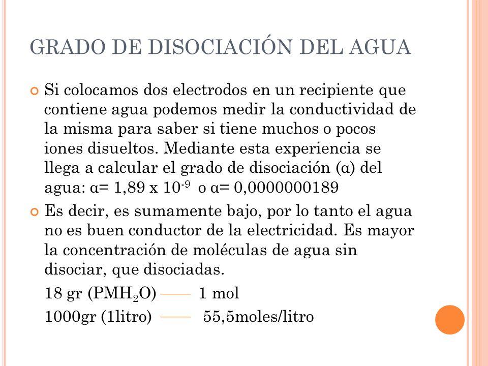 GRADO DE DISOCIACIÓN DEL AGUA Si colocamos dos electrodos en un recipiente que contiene agua podemos medir la conductividad de la misma para saber si