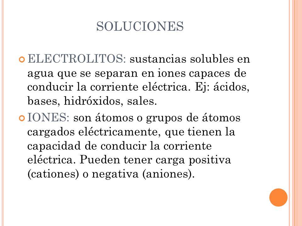 ELECTROLITOS: sustancias solubles en agua que se separan en iones capaces de conducir la corriente eléctrica. Ej: ácidos, bases, hidróxidos, sales. IO