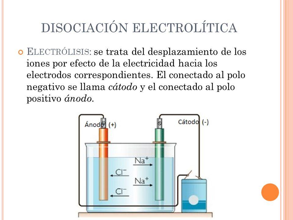 DISOCIACIÓN ELECTROLÍTICA E LECTRÓLISIS : se trata del desplazamiento de los iones por efecto de la electricidad hacia los electrodos correspondientes