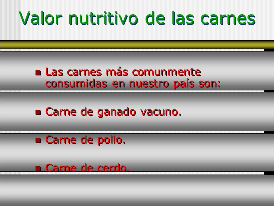 Valor nutritivo de las carnes Las carnes más comunmente consumidas en nuestro país son: Carne de ganado vacuno. Carne de pollo. Carne de cerdo. Las ca
