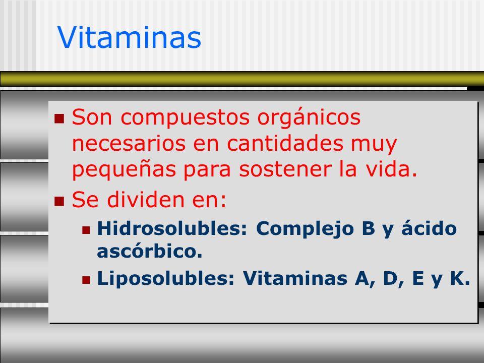 Vitaminas Son compuestos orgánicos necesarios en cantidades muy pequeñas para sostener la vida. Se dividen en: Hidrosolubles: Complejo B y ácido ascór