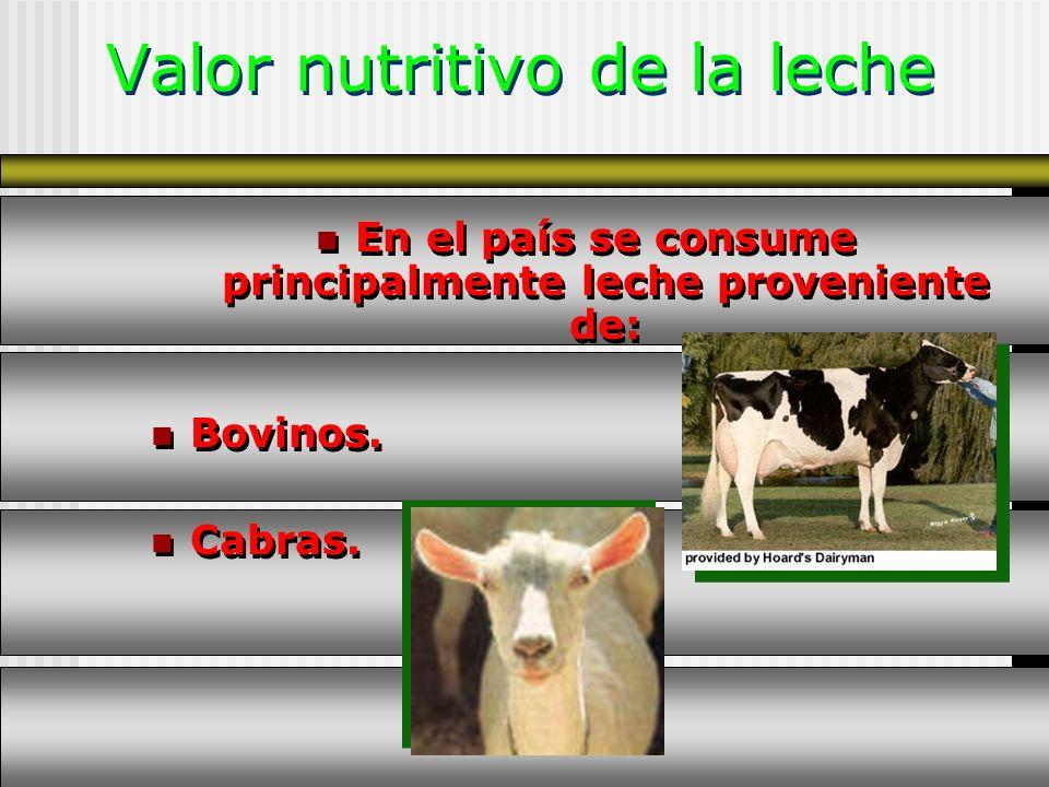 Valor nutritivo de la leche En el país se consume principalmente leche proveniente de: Bovinos. Cabras. En el país se consume principalmente leche pro